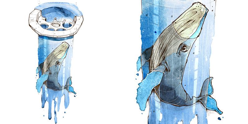 Wal Motiv Zeichnung Aquarell Umwelt Mikroplastik Ozean Meer