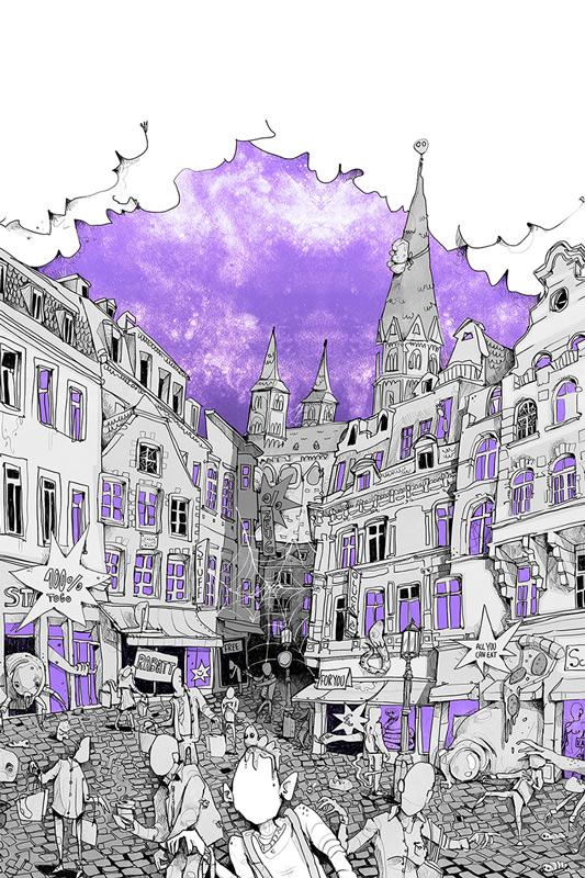 Nicht-Orte Ausstellung Zoom Bonn Illustration