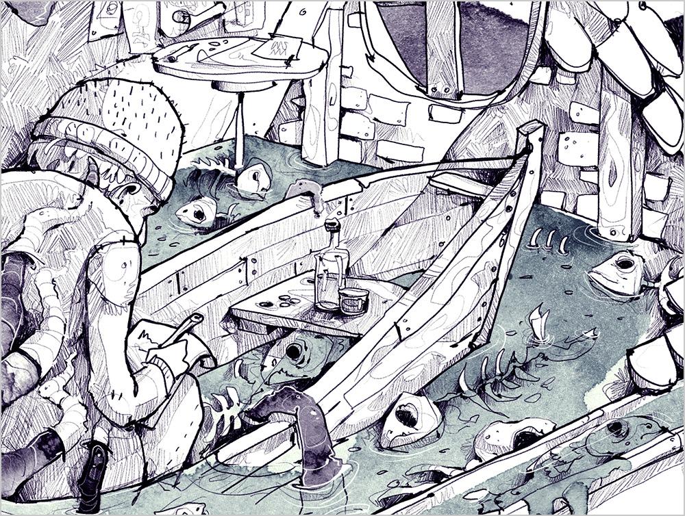 derholle Dagon Buchillustration Gruselbuch H. P. Lovecraft Illustrator