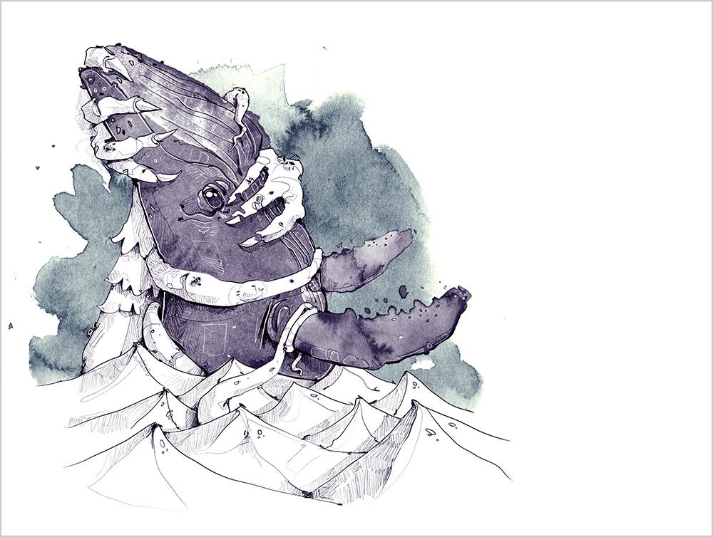 derholle Dagon Buchillustration Gruselbuch H. P. Lovecraft Wal