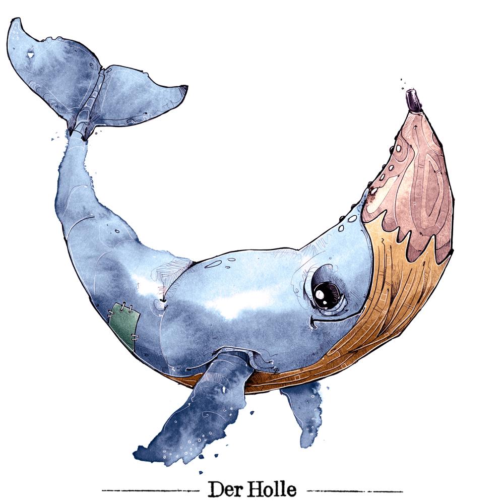 Matthias Holländer derholle Logo Wal Illustrator Buchillustration