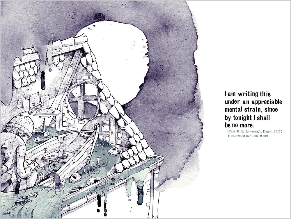 Arkham derholle bonn illustrator lovecraft aquarell Cthulhu Dagon